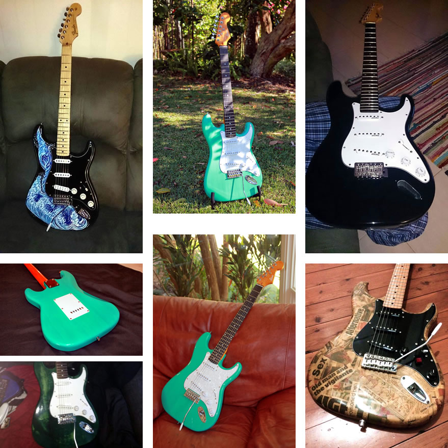 Examples of finished Strat style guitar kits