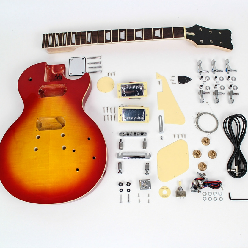 Gibson Les Paul DIY Electric Guitar Kit pre-finished cherry burst parts